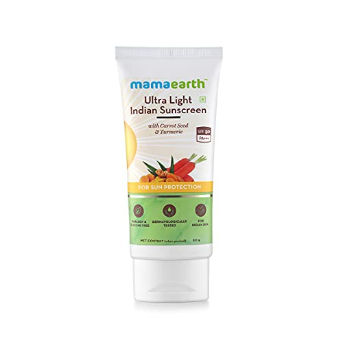 Mamaearth's Ultra Light Natural Sunscreen Lotion SPF 50 PA+++ For Indian Skin, With Turmeric & Carrot Seed, 80ml