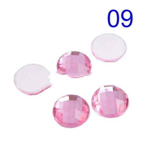 100 Stück Strass Mix Farbe 12mm Runde Oberfläche Flatback Transparente Acryl Strass No Hole Brautkleid Accessoire Nail Art, 09