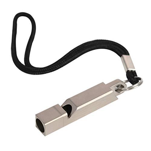LIOOBO Ruidoso Silbato de Seguridad - Titanio silbido de la Supervivencia de la aleación con mosquetón y cordón - para Camping excursiones al Aire Libre Deportes árbitro adiestramiento de Perros etc.