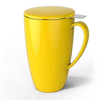 Sweese 201.105 Porcelain Tea Mug with Infuser and Lid, 15 OZ, Yellow