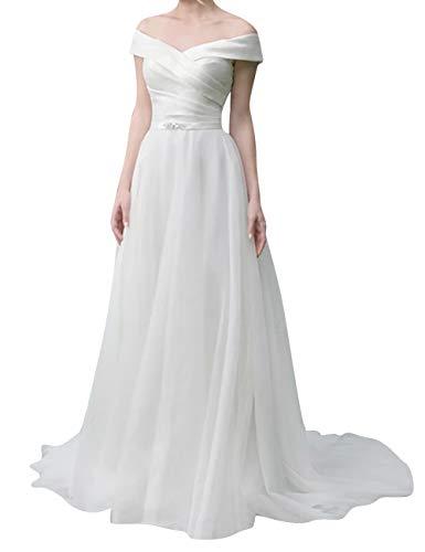 Off the Shoulder Low Back Wedding Dress