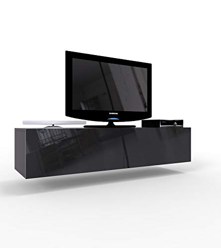 High Gloss TV Stand Cabinet Wall Mountable | Floating Entertainment Unit 140cm (Black)