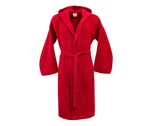 Bassetti - Albornoz con capucha para hombre/mujer, disponible en varias tallas y colores, 100% algodón rojo rojo Taglia XXL, 185 cm