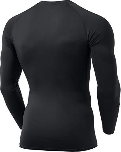 TSLA Chemises de Compression Thermiques à Manches Longues pour Hommes, Haut de Couche de Base Athlétique, T-Shirt de Course pour Hiver, Thermal Athletic (yud34) - Marine, XX-Large