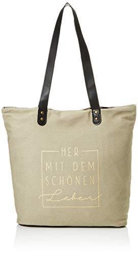 Grafik Werkstatt Shopper Leinen Damen Tasche Her mit dem schönen Leben, Mehrfarbig