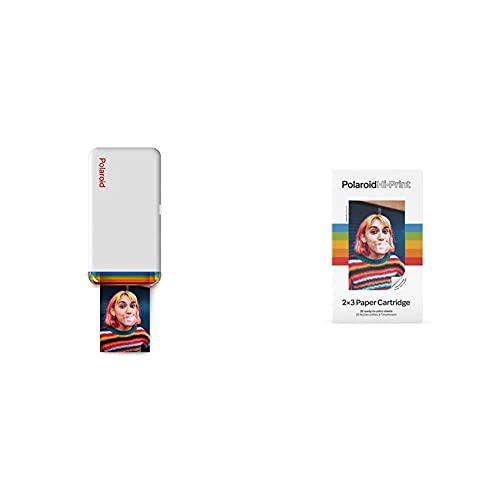Polaroid - 9046 - Polaroid Hi-Print 2X3 Stampante Fotografica Portatile Bluetooth - Bianco + 6089 - Polaroid Hi·Print Paper Cartridge – 20 Fogli 2 Cartucce