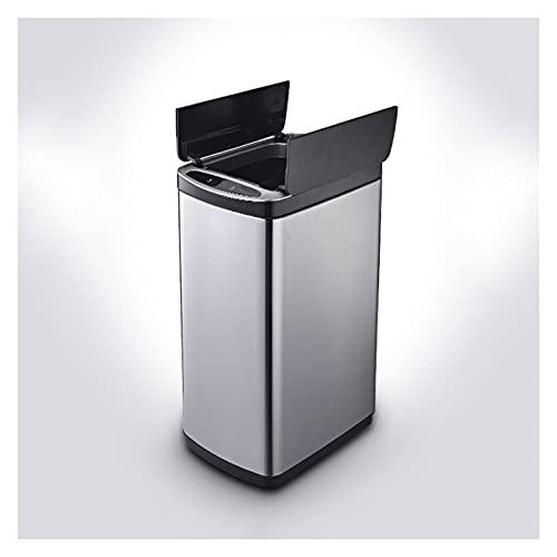 Cubos de basura para la cocina 30L Bote de basura doméstica con tapa de acero inoxidable PUEDE COCINA PUEDE LA PUEBLA DE INDUCCIÓN DE LA COCINA, POCADA POR BATERÍAS (NO INCLUIDAS) O CARGA USB Cubos de