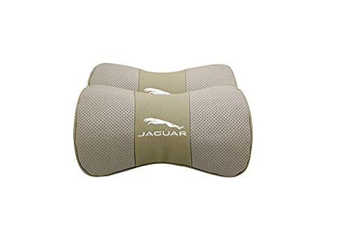 ephvan Car Sales 2 PCS Genuine Leather Bone-Shaped Car Seat Pillow Beige Neck Rest Headrest Comfortable Cushion Pad with Logo Pattern Fit Jaguar Accessories