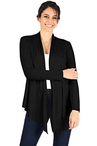 Womens Open Drape Cardigan Reg and Plus Size Cardigan Sweater Long Sleeves - USA Large Black