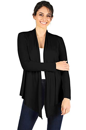 Womens Open Drape Cardigan Reg and Plus Size Cardigan Sweater Long Sleeves - USA X-Large Black