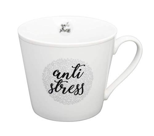 Krasilnikoff - Becher, Tasse mit Henkel - Happy Cup - Antistress - ca. 400 ml - Höhe: 9 cm - weiß/grau