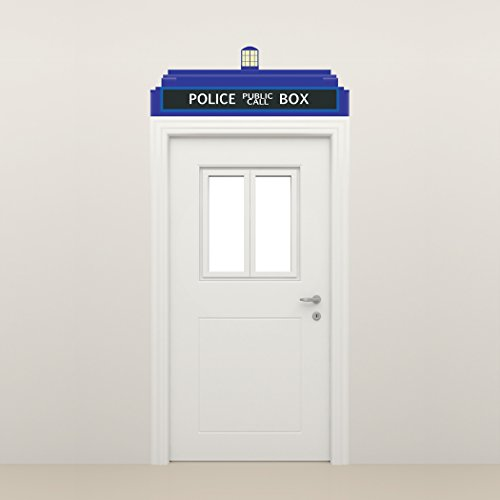 """Dr Who Tardis Police Call Box Door Topper, Peel and Stick Fabric Decal (26""""w x 9""""h)"""