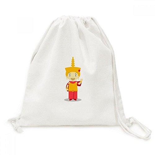 DIYthinker Yellow Hat Kambodscha Cartoon Canvas-Rucksack-Reise Einkaufstaschen