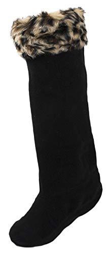 Damen Fleecesocken für Gummistiefel mit Tierfellimitat oben (Licht Leopard, 36-38)