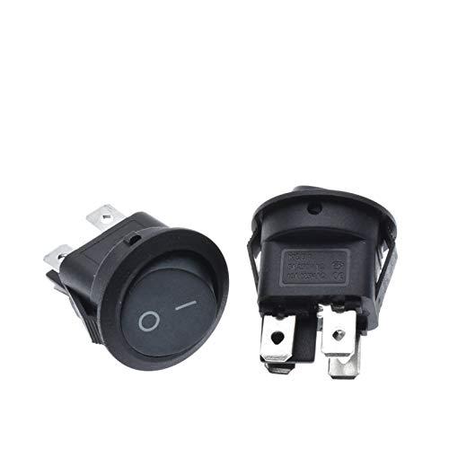 CHANGXINBH Interruptor pulsador 10pcs 23mm Redondo Negro 4 Pin 10A / 125V 6A / 250V AC 2 Posición DPDT ON-Off BOCKER Switch Snap-in (Color : Black)