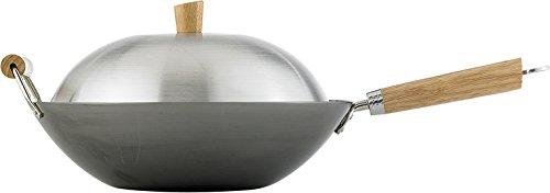 Helen Chen's Asian Kitchen Flat Bottom Wok, Carbon Steel with Lid and Stir Fry Spatula, Recipes Included, 14-inch, 4 Piece Set