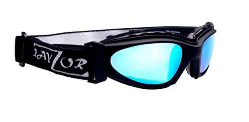 Rayzor professionale UV400 Black 2 in 1 in bicicletta - MTB Occhiali da sole / Occhiali, con un anti-nebbia trattata Blu Iridium antiriflesso delle lenti Chiarezza e staccabile elasticizzata fascia e interno imbottitura in schiuma