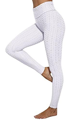 CMTOP Leggings Push Up Mujer Mallas Panal Arrugado Pantalones Deportivos Alta Cintura Elásticos Yoga Leggings Mujer Fitness Suaves Elásticos Cintura Alta (Blanco, XL)