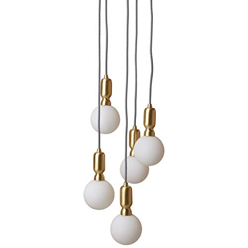 Amazon Brand – Rivet Diana Mid-Century Modern 5-Globe Ceiling Pendant Chandelier with LED Light Bulbs, 65' Cord, Gold