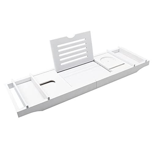 Wede Caja De Almacenamiento De La Bandeja De Bañera De Bambú con Libros O Tabletas, Adecuado para Todos Los Accesorios De Baño (Caja Doble)(Color:Blanco)