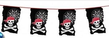 Lot de 3 Guirlandes Pirate 10 Métres Fanion 23x35cm