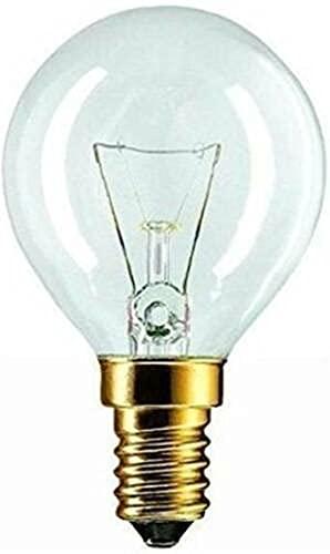 Bombilla para lámpara de horno (40 W, SES (E14) 240 V, transparente, redonda, 300 grados, equivalente al número de pieza U2-B6