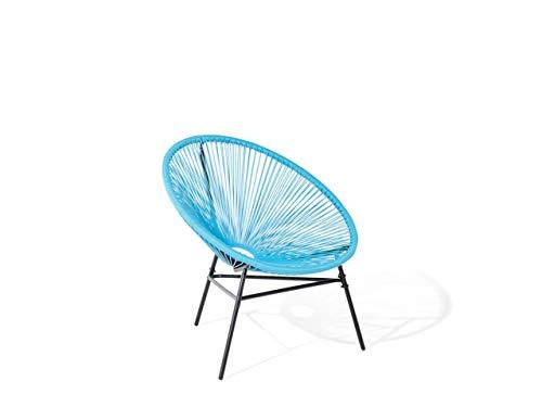 Beliani Lustiger Gartenstuhl Spaghetti-Optik Rattan blau Acapulco