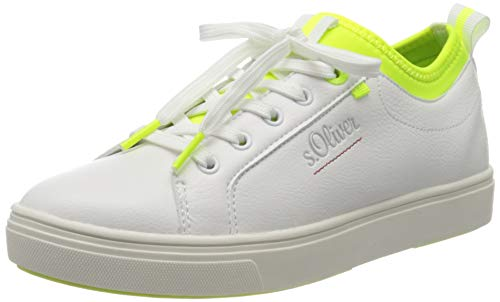 s.Oliver Damen 5-5-23603-34 Sneaker, Weiß (Wht/Neon YEL. 168), 38 EU