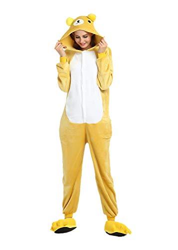 Onesies Pyjama Erwachsene Cartoon Einteiler Jumpsuit mit Kapuze Tier Kostüm Onesie Warm Weich Niedliche Tierpyjamas Flanell Hausanzug Party Cosplay Karneval Home Fasching Indoor Rilakkuma M