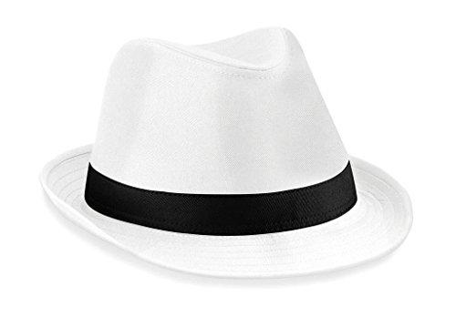 Beechfield Fedora in white/black size L/XL Large / X-Large,Weiß/Schwarz
