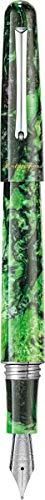 MONTEGRAPPA Collezione ELMO 01 FANTASY BLOOMS, Penna Stilografica Punta Fine, Black Star Calla Lily Verde Sfumature Nero Ispirazione Floreale