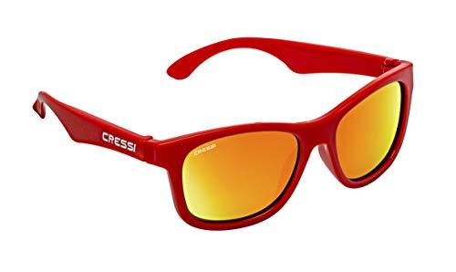 Cressi Kiddo Sunglasses - Gafas de Sol para Niños Unisex 6+ Años, Rojo/lentes espejadas amarillo