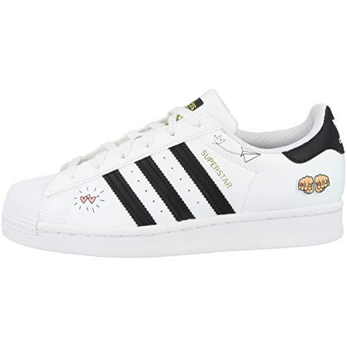 adidas Superstar J, Scarpe da Ginnastica, Ftwr White/Core Black/Gold Met, 36 EU