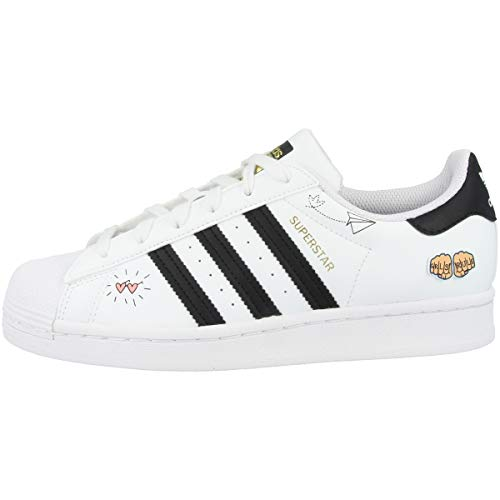 adidas Superstar J, Zapatillas Deportivas, FTWR White Core Black Gold Met, 38 2/3 EU