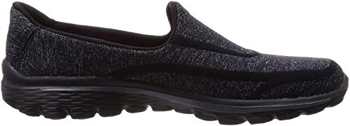 Skechers GO Walk 2 Super Sock Damen Walkingschuhe, Black (Bkw), 36 EU