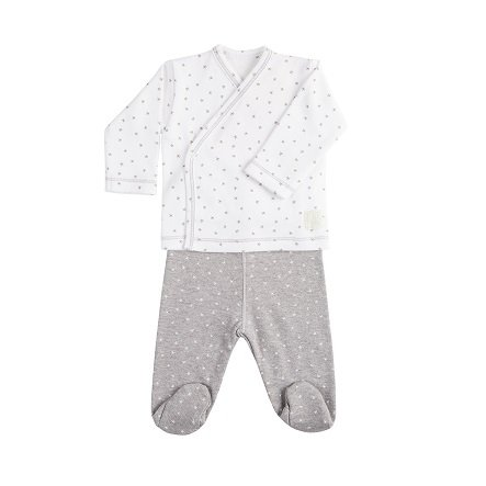 Babyclic Jubon + Polaina Mini Stella Blanco - Ropa Y Accesorios De Bebe