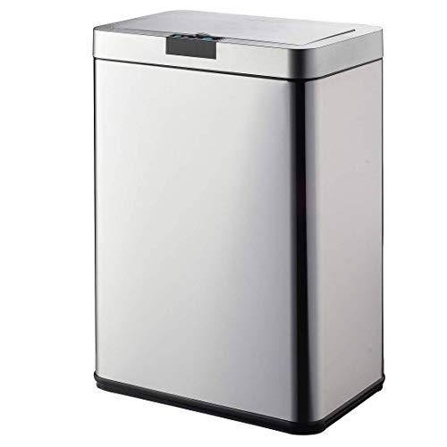 Cubo de basura de cocina automático de diseño de Daytona, 60 L, acero inoxidable con aro