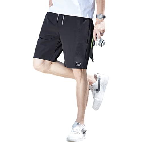 Pantalones Cortos de Secado rápido para Hombre Moda de Color sólido Tendencia Todo-fósforo Casual Pantalones Cortos Deportivos Rectos cómodos con cordón XL