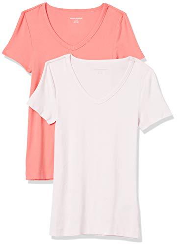 Amazon Essentials Damen fashion-t-shirts 2-pack Slim-fit Short-sleeve V-neck T-shirt, Coral/Light Pink, Medium (38-40)