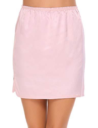 Adome, sottogonna corta da donna, in raso, biancheria da notte basic per vestito, lingerie al ginocchio, in tinta unita, in stile vintage, elasticizzata Rosa corto. XXL