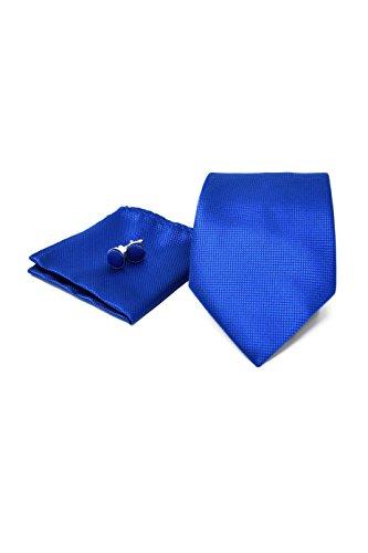Coffret Ensemble Cravate Homme, Mouchoir de Poche, Boutons de Manchette Bleu - 100% en Soie - Classique, Elégant et Moderne - (Idéal pour un cadeau, u