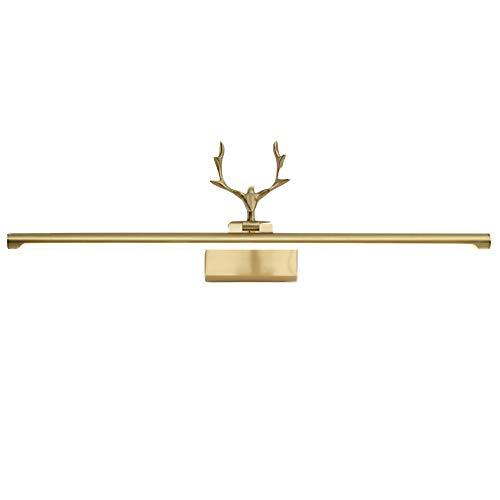 VANLAMP LED Spiegelleuchte Badezimmer Dimmbar Messing, Nordischer Stil Wandleuchte Spiegellampe Schminklicht Messing Geweih Modellierung Lampenschirm aus Acryl Wasserdicht für Schminktisch,40cm