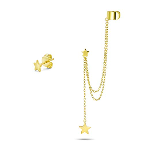 Engravable USA Patriotic Star Celestial Double Chain Ear Lobe Cartilage Earring Clip On Helix Linear Long Chain Band Wrap Ear Cuff Stud Earring Set 14K Gold Plated .925 Sterling Silver