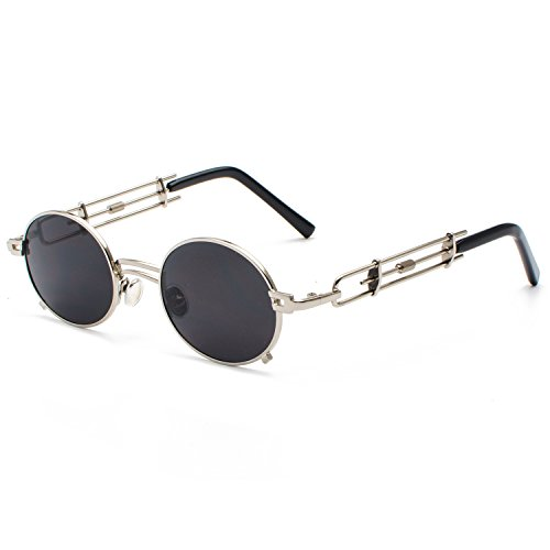CVOO Vintage Mannen Vrouwen Stoom Punk Zonnebril Merk Ontwerp Ronde Zonnebril Gafas De Sol UV400