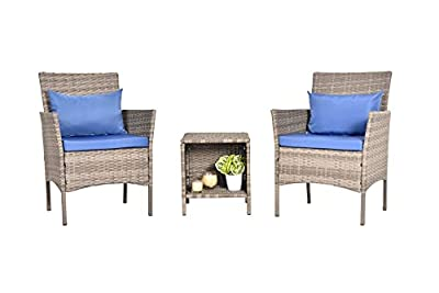 PCAFRS Patio Furniture Set 3 Piece, Patio Bistro Set 3 Piece,PE Rattan Wicker Chairs, Storage Table & Chairs Set, Washable Cushion and Pillow, Suitable for Garden Poolside Balcony (Blue)
