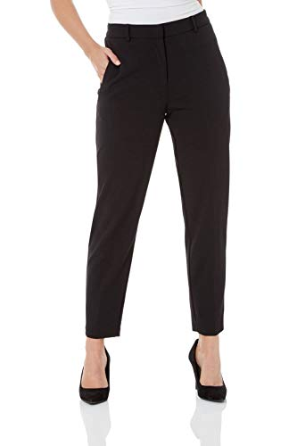 Roman Originals Women Professional Suit Trousers Ladies Straight Tapered Pull On Stretch Work Office Interview Smart Formal Cigarette Pencil Tailored Classic Pants - Black - Size 12