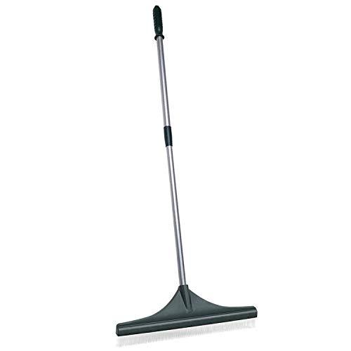 ORIENTOOLS Turf Rake, Ergonomic Adjustable Lightweight Steel Handle, Plastic Head with PA Brush, 32 to 52 inches, Carpet Rake