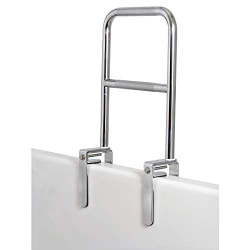 Carex Health Brands Dual Level Bathtub Rail with Chrome Finish Safety Bar For Seniors and Handicap, For Assistance Getting In and Out of Tub