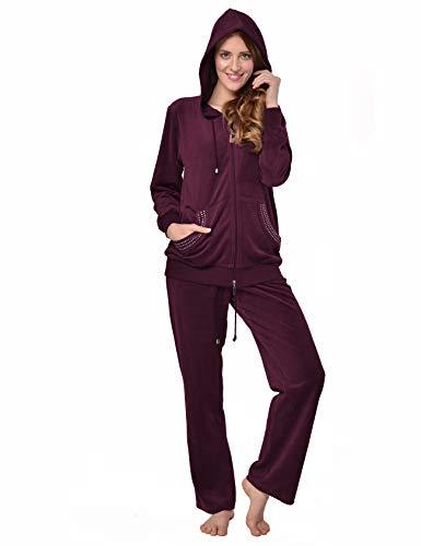 RAIKOU Damen Micro Velours Freizeitanzug Hausanzug mit Reißverschluss Nicki-Anzug Zweiteiliger Schlafanzug mit Strasssteinen (44/46, Brombeer)