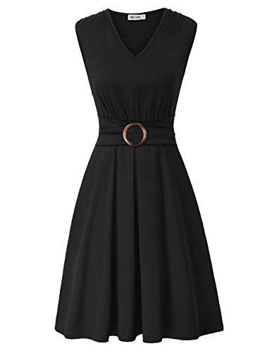 Damen Cocktail Kleid Ärmellos V-Ausschnitt A-Linie Midi Casual Kleid XL Schwarz CLS02215-1